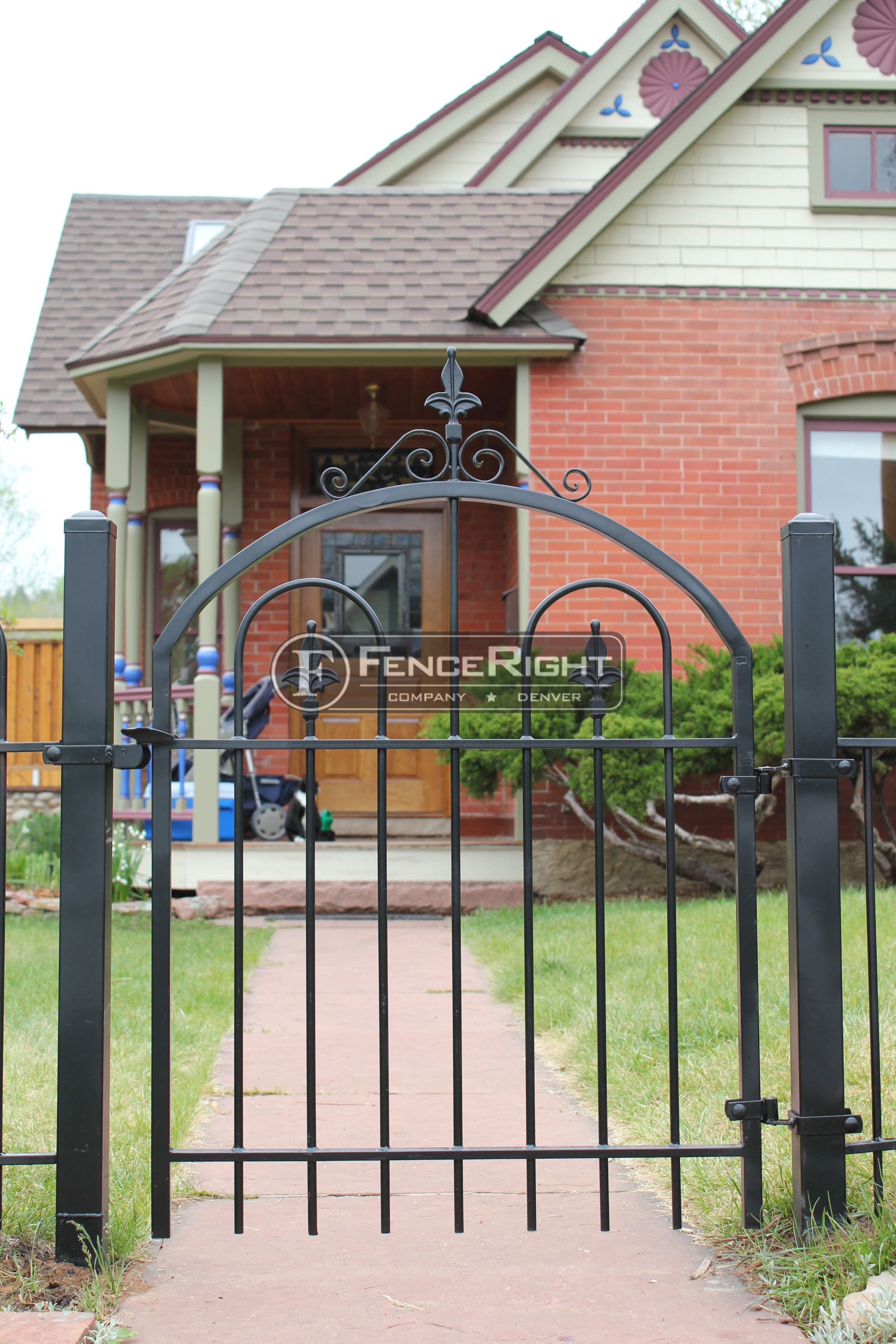 Metal, iron front entry, arch top gate, 4-foot tall fence
