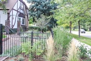 Metal fencing, three-rail wrought iron fence with cap rail and 3-inch rings