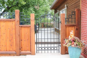 metal and wood fencing, arched top metal gate with 4-inch metal rings, modern style wrought iron gate and top accents on tongue and groove cedar privacy fence with 6x6 inch posts
