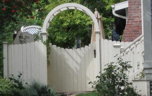 custom, arch-top,dog ear picket arbor and concave picket privacy fence
