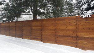 wood fencing, horizontal custom weave privacy wood fence