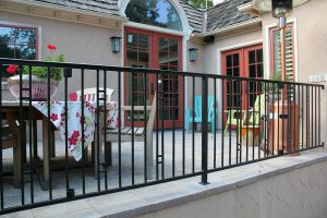 Metal fencing, two-rail modern square steel design with decorative square detail