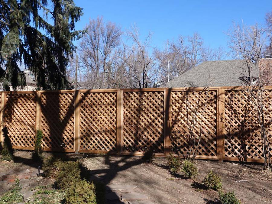 Diamond pattern privacy fence with decorative cap and base