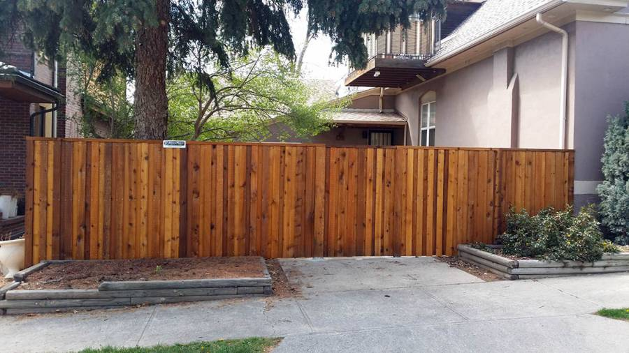 Vertical cedar privacy fence, simple cap